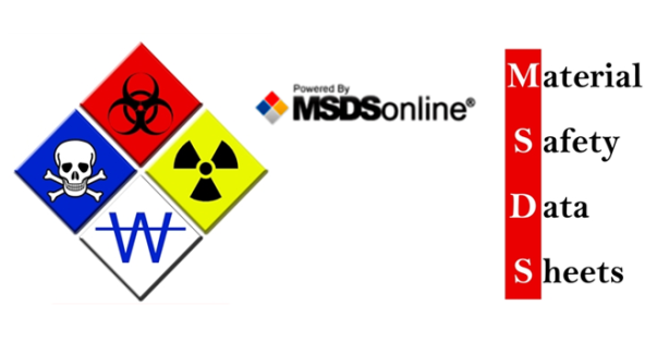 MSDS Material Safety Data Sheets and diamond with four safety graphics