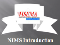 Cover of presentation with text HSEMA NIMS Introduction